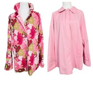London Fog Reversible Pink Raincoat Spring Large